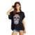 Hot 2017 Nueva Camiseta Femme de Halloween 70 s Impresión Del Cráneo Hip Pop Punky de la Roca T-shirt Creativo Camiseta Floja de Las Mujeres Más tamaño