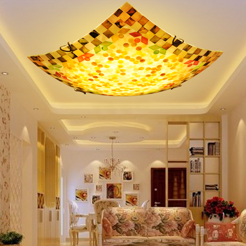 Idyllic European square LED bedroom ceiling lamp, Mediterranean American style warm seashore balcony aisle lamps