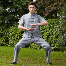 Summer Gray Chinese Men Tai Chi Uniform Cotton Linen Kung fu Suit Short Sleeve Clothing M L XL XXL XXXL 2526-2