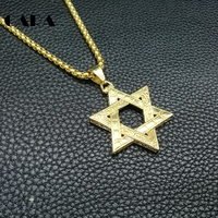 Stainless Steel Bar Street Dance Hip Hop Necklace Nightclub Performances Necklace Lucky Six Pointed Star Pendant