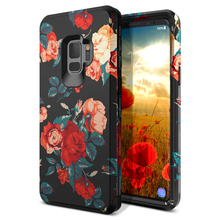 Luxury 3 in 1 Case For Samsung Galaxy S9 S9plusHard Cover PC Soft Silicone Bumper ShockproofFlowers Case For Samsung Note 8 9
