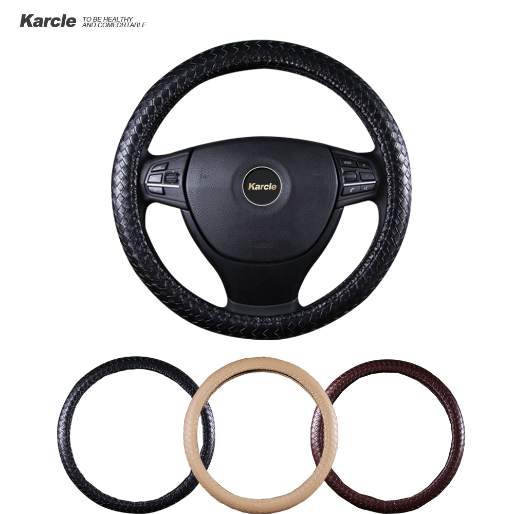 Karcle PU Leather Car Steering wheel Cover 38 40CM Car Styling Weave Pattern Sport Steering Wheel