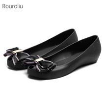 Rouroliu Women Casual Flats Ladies Summer Peep Toe Bowknot Sandals Woman Soft Comfortable Slip-On Jelly Shoes FR103