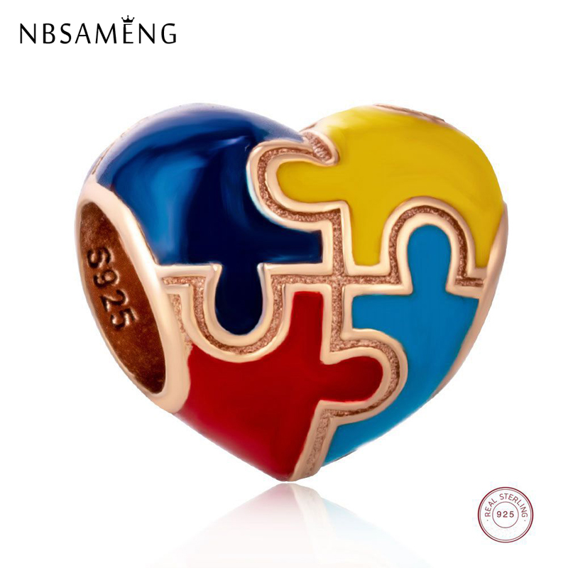 NBSAMENG 100% 925 Sterling Silver Charm Colorful Autism Awareness Puzzle Piece Heart Beads Fit Bracelets Women Jewelry(China)