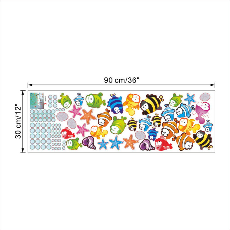 % Underwater Fish Starfish Bubble Wall Sticker For Kids Rooms Cartoon Nursery Bathroom Children Room Home Decor Wall Decals Home Decor