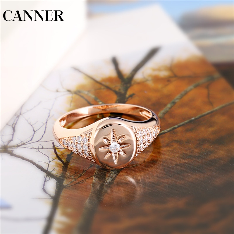 Honest Canner Rose Gold Color Rings For Woman Zirconia Star Rings Simple Delicate Ring Jewelry Wedding Party Female Midi Finger R4