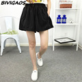 2016 Spring Summer New High Waist Wide Leg Shorts Black Vertical Stripes Loose Casual Shorts Skirts Fashion Short Culotte Women