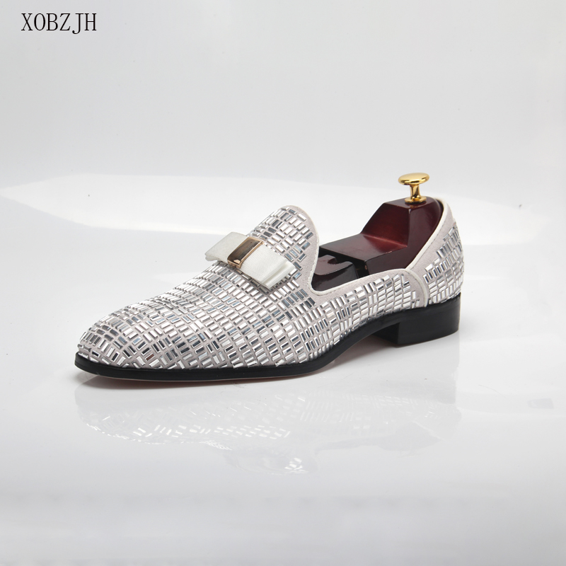 2020 Men Evening Formal Dress Rhinestone Shoes Loafers Casual Prom Wedding Party Leather Slip On Shoes Men Silver Plus Size 13