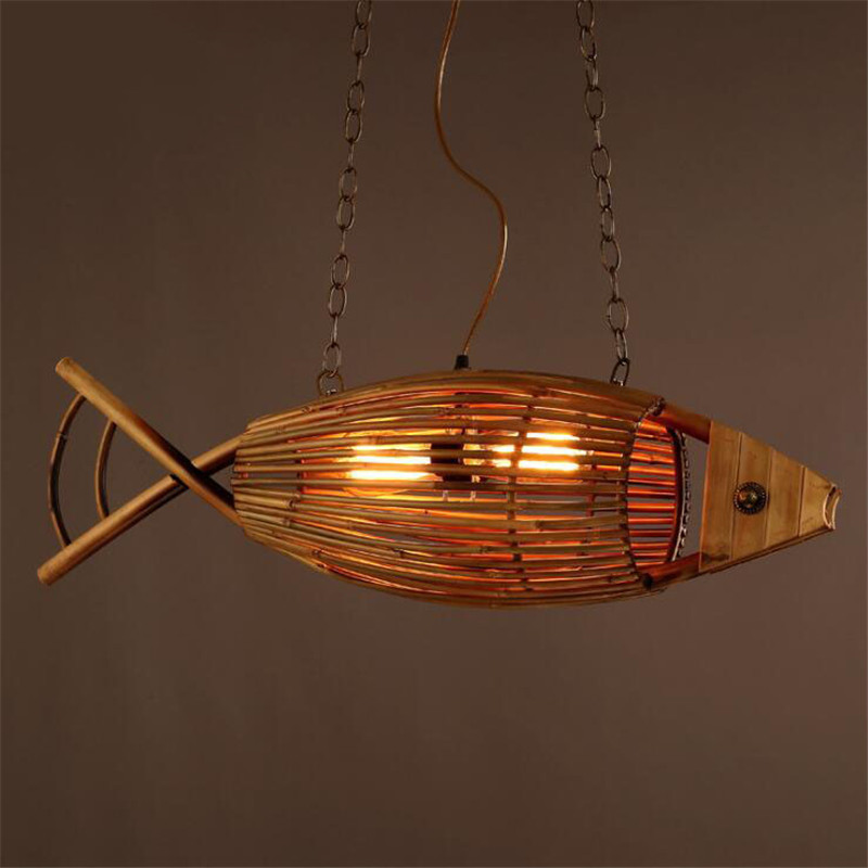 Loft Style Wooden Fish Dining Room Pendant Lights Vintage Fish Cafe Light Bar Light Retro Bedroom Light  Free Shipping loft vintage edison glass light ceiling lamp cafe dining bar club aisle t300