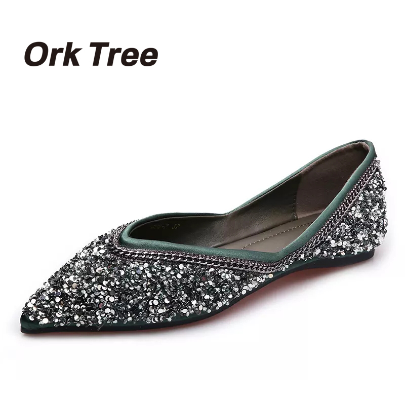 Ork Tree  Autumn Women Flats Casual Black Bling PU Pointed Toe Loafers Boat Shoes Woman Fashion Slip On Shallow Flat Shoes 25  2017 women lady shoes flat heel spring autumn boat pointed toe slip on casual simple mixed color pink yellow blue black red