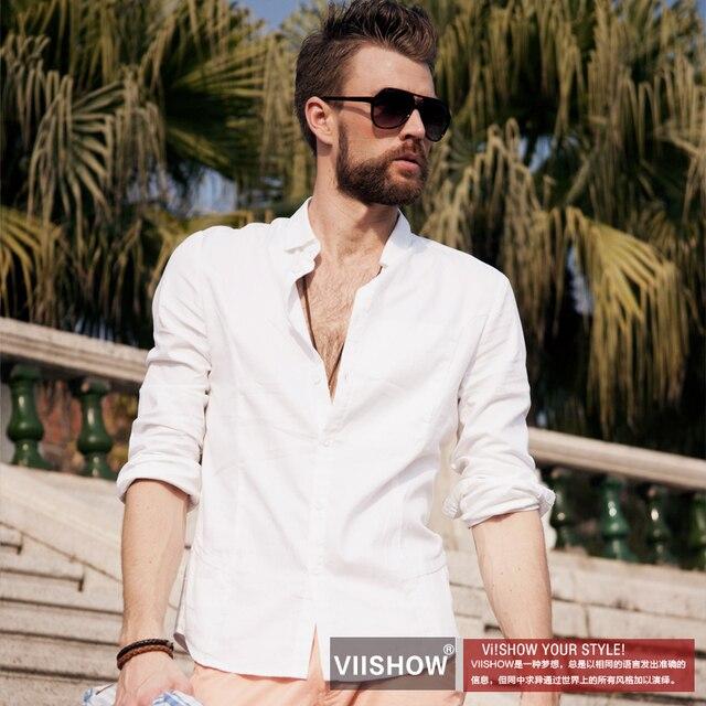 99c50a07456 Fashion vintage summer men s clothing slim fashion white shirt fashion 100% cotton  long-sleeve male shirt