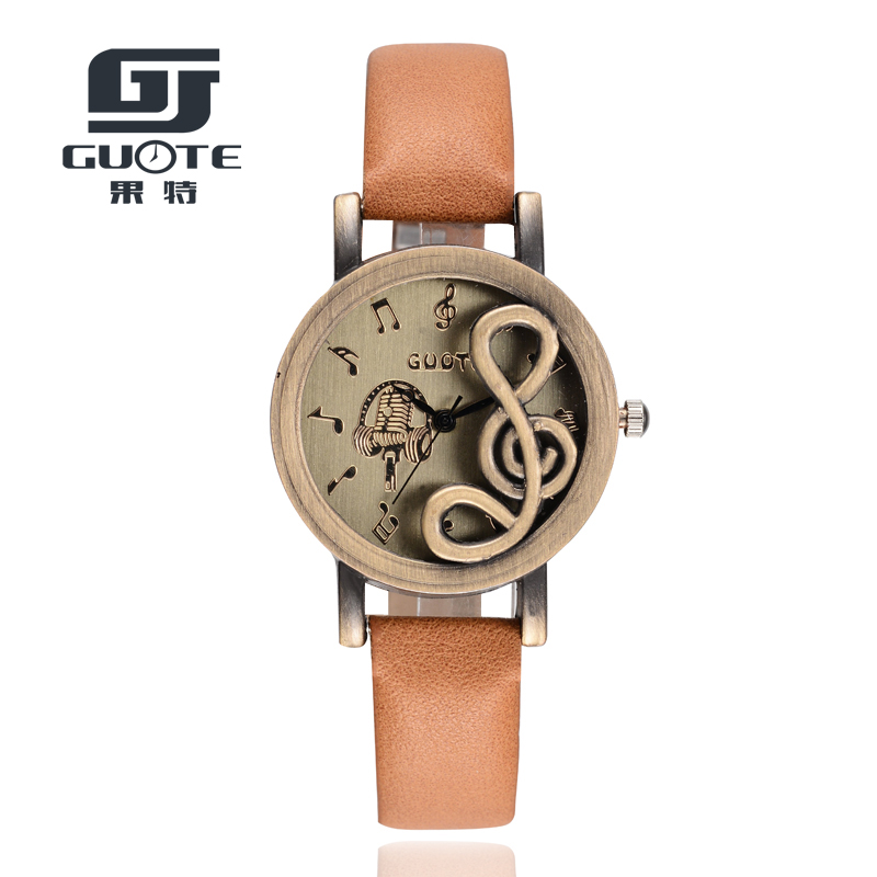 2016 New Brand GUOTE Fashion Music Note Casual Quartz Watch Leather Strap Retro Dress Women Watches Relogio Feminino Clock Hot miler vintage fashion watch women retro leather strap world map casual quartz wristwatch ladies creative clock relogio feminino
