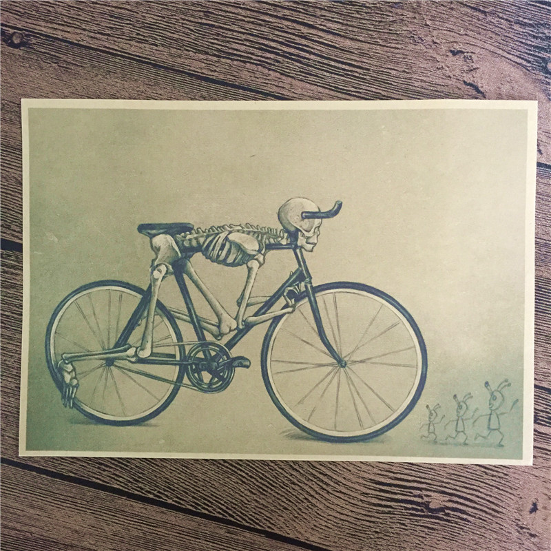 Direct selling DC-017 retro vintage poster Skull Bike home decorative pictures for bedroom wall art craft sticker 42x30 cm