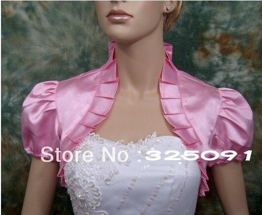 Newest Short Sleeve Pink Satin Ruffle Wedding Bridal Party Bolero Jackets Shrug Pageant Evening
