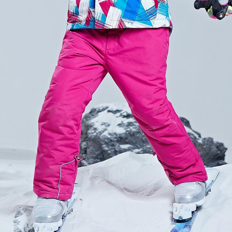 Winter Girls Ski Pants Windproof Overall Pants Children Waterproof Thermal Snowboard Pants Kids Boys Snow Skiing Trousers