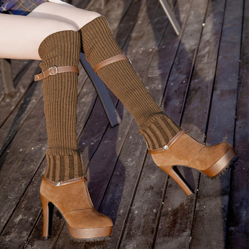 Autumn women shoes sexy pointed toe thin heels knee-high boots woman stretch fabric flock size 35-39 adult ladies boots