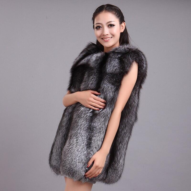 2016 leather vest waistcoat grey fox fur coat medium long female