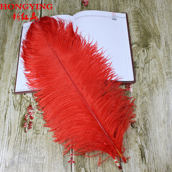 50 PCS  natural red ostrich feathers to 55 cm / 20 22 inches plume wedding decoration - discount item  2% OFF Arts,Crafts & Sewing