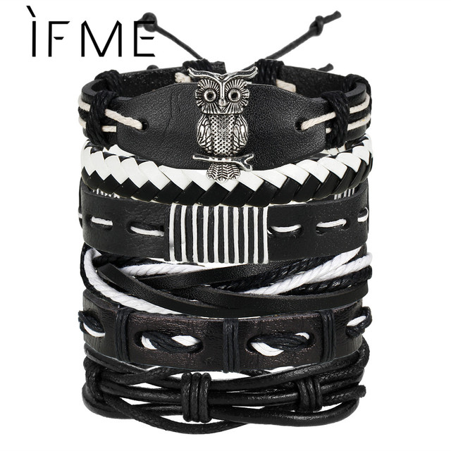 IF ME Fashion Charms Multiple Layers Owl Leather Bracelet Men Vintage Classic Rope Chain Wrap Arm Bracelet Set Male Jewelry 2018