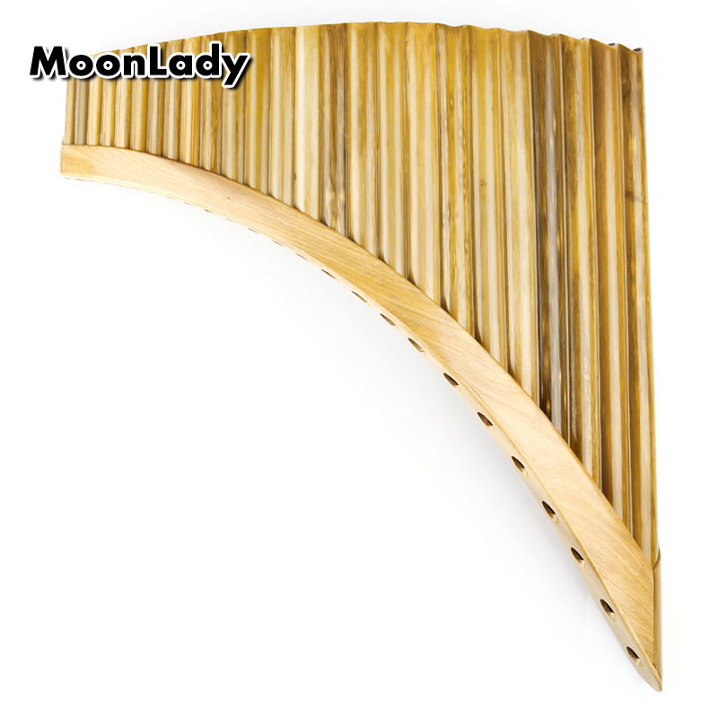Left Hand Romanian Folk Instrument Natural Bamboo Pan Flute Panpipes 25 Pipes C Key Wind Panflute Flauta Handmade c key 25 pipes pan flute gold color music instruments chinese good quality handmade woodwind instrument pan pipes