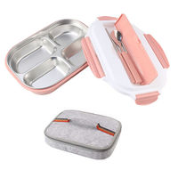 Stainless Steel Thermal Lunch Box Bento Box With Lunch Box Bag Microwavable Food Storage Container Lunch Bento Boxes Tableware