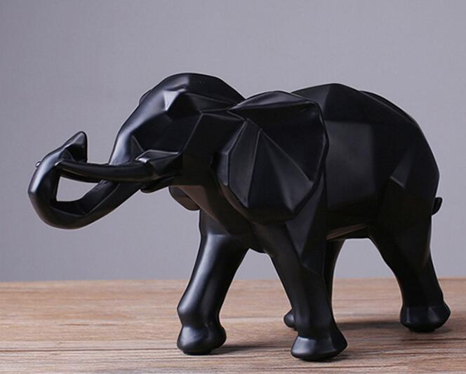 Modern Abstract Black Elephant Statue Resin Ornaments Home Decoration accessories Gift Geometric Resin Elephant Sculpture