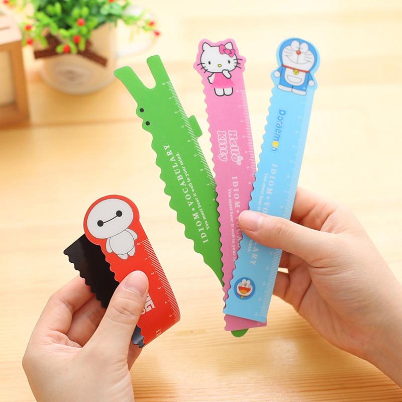 2pcs 15cm Novelty Magnet Hello Kitty Doraemon  Bendable Magnet Ruler Measuring Straight Ruler Tool Promotional Gift Stationery