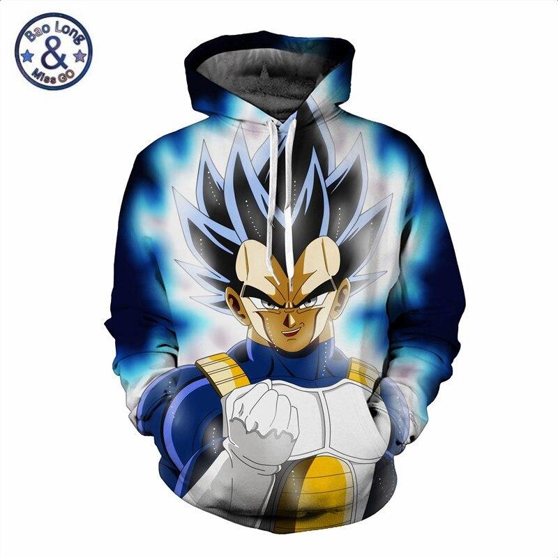 Dragon Ball Z Hooded Sweatshirts Men Animation Cartoon Vegeta Printed 3d Hoodies Long Sleeve Jacket Casual Tracksuit Outwear Men's Clothing