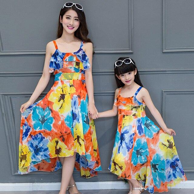 Семьи соответствующие наряды мать и дочь соответствующие длинные платья семья одежда и дочь одежда пляж платье DR72