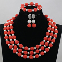 Artificial Coral Beaded Bridal Jewelry Set Silver African Bride Jewelry Accessory African Jewelry Set QW1112