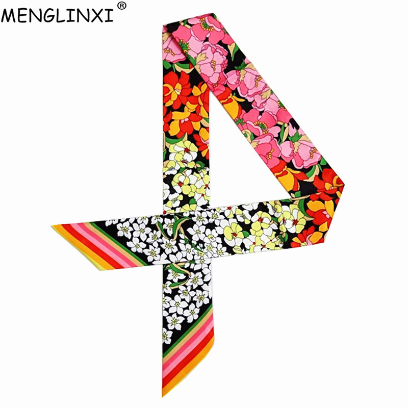 2020 New Skinny Scarf Floral Printing Silk Scarf For Women Luxury Brand Foulard Fashion Belt For Ladies Bag Scarf Head Scarves
