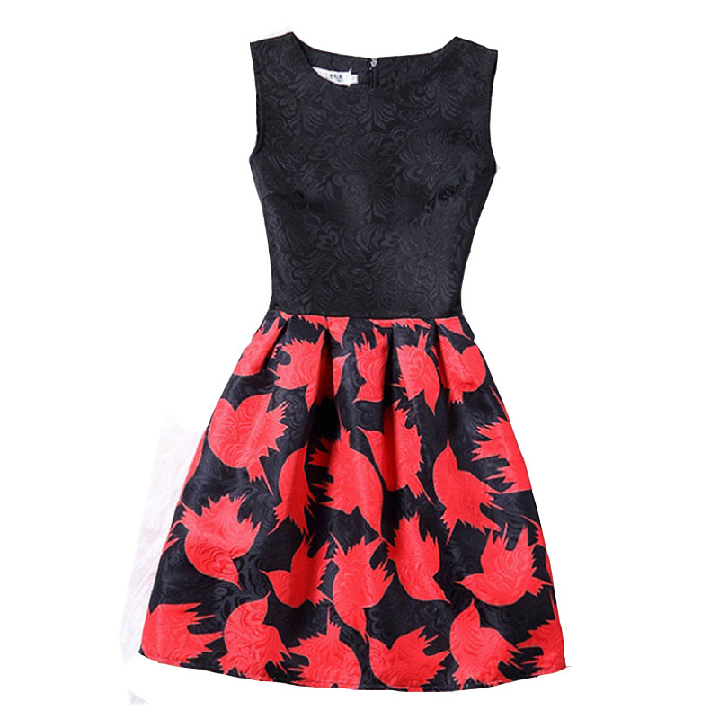 2XL New Brand Spring Summer Plus Size Women Print Floral Vest Dress Sleeveless A Line Party Fashion Dresses Vestido De Festa Hot 1