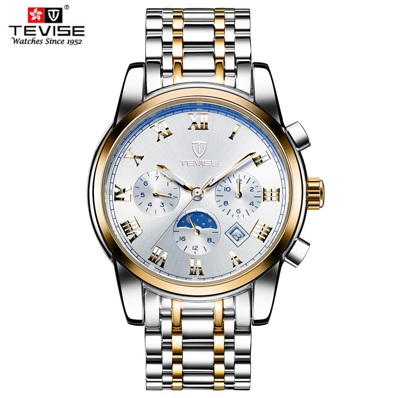 2016 Men Watches Luxury Top Brand TEVISE Sport Mechanical Watch Gold Clock Mens calendar Automatic Wristwatch With Moon Phase tevise men black stainless steel automatic mechanical watch luminous analog mens skeleton watches top brand luxury 9008g