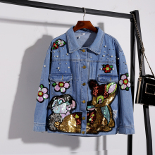 b55acd52471 LYFZOUS Pearl Embellishment Cartoon Sequin Women Lovely Patch Lapel Long  Sleeve Jean