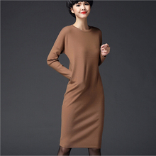 winter dresses women 2017 European style O-neck long sleeve wool bottoming dress knitted sweater women pullover