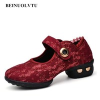 New Style Popular Red Dance shoes women Soft bottom Jazz shoes Girls dance sneakers girls 35 41 female shoes dancing