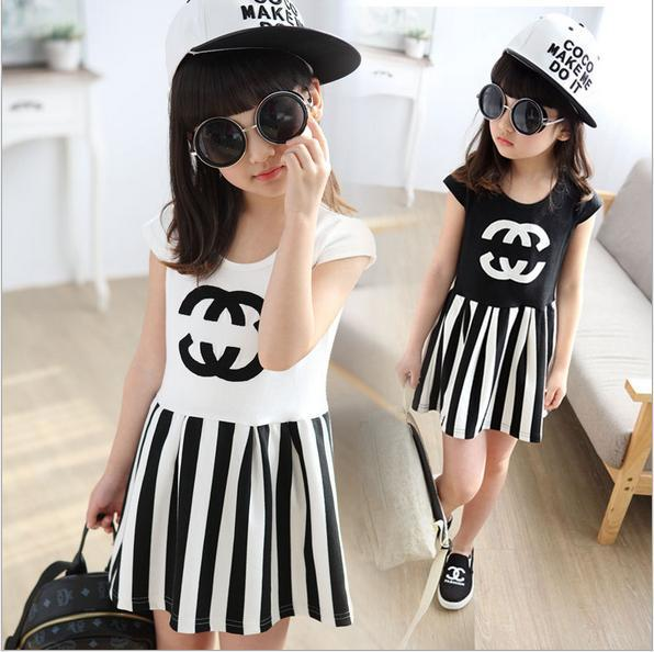New Summer Children Clothing Baby Girl Cotton Striped Printing
