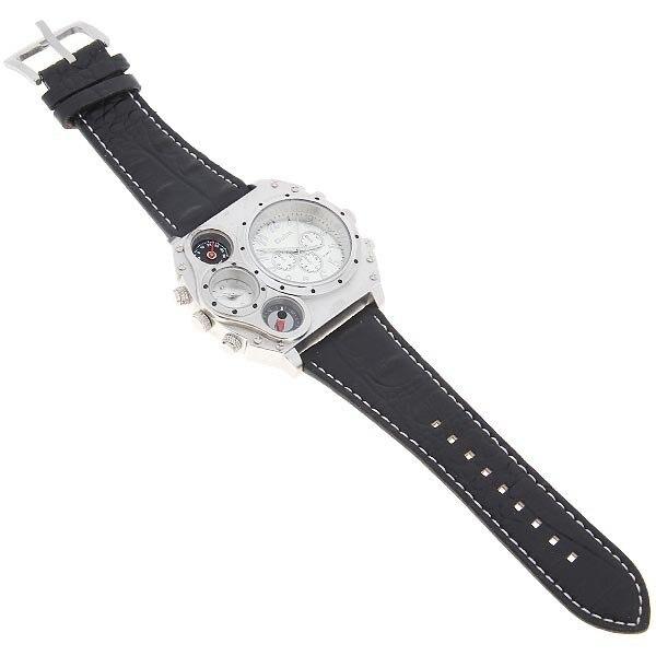 Image 4 - Oulm 1349 Reloj Hombre mężczyźni podwójny ruch sportowy zegarek wojskowy z kompas termometr dekoracji mężczyzna zegar Relogio Masculino w Zegarki cyfrowe od Zegarki na