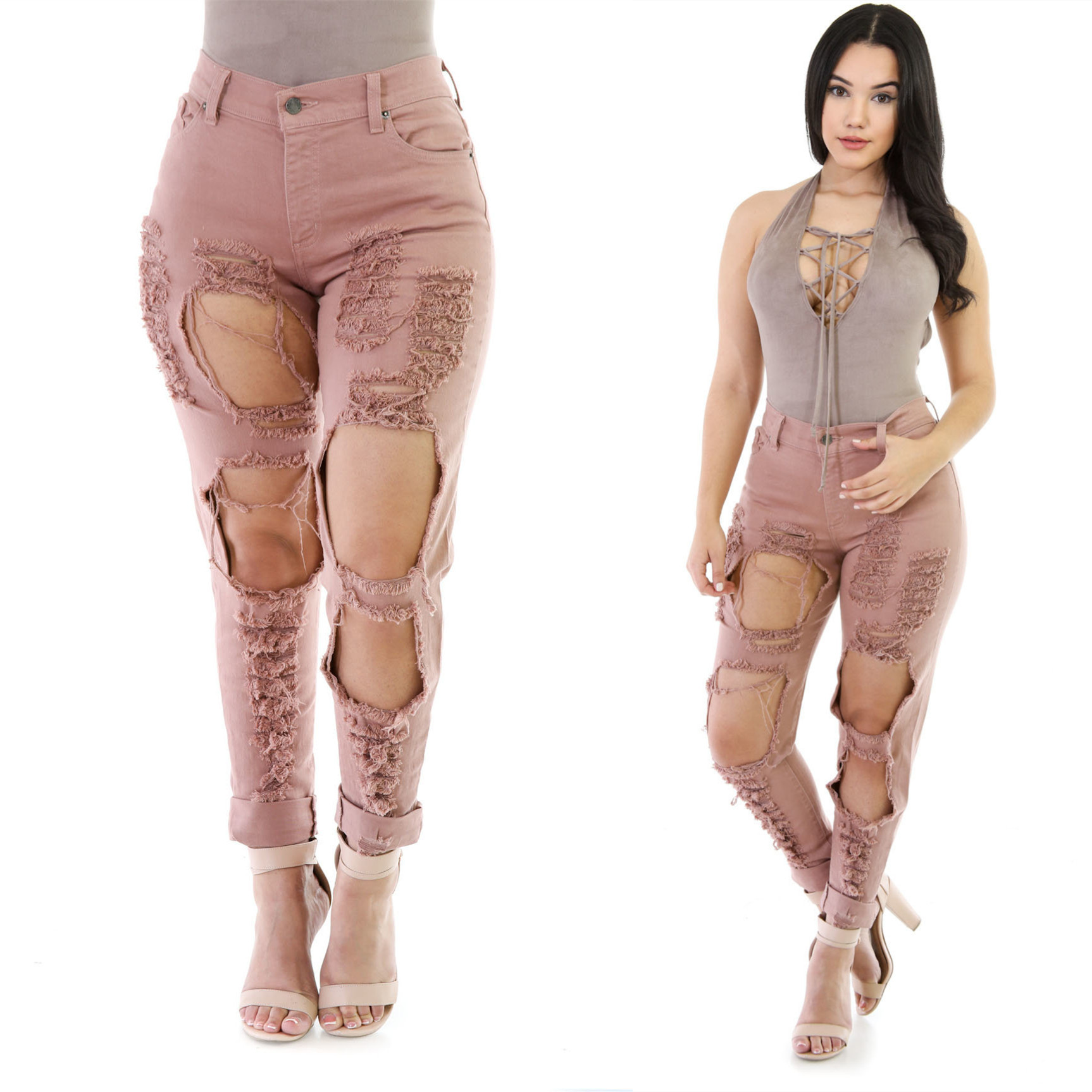 Women 2016 High Waist Reddish Brown Ripped Jeans Woman Skinny Pencil Pants Slim Trousers for Women Elastic Women's Jeans Hole ripped jeans for women 2016 high waist woman skinny pencil pants sexy holes black ripped jeans slim elastic trousers for women