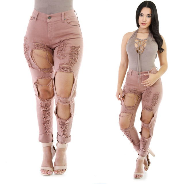 652c660f0067 Women 2016 High Waist Reddish Brown Ripped Jeans Woman Skinny Pencil Pants  Slim Trousers for Women Elastic Women's Jeans Hole