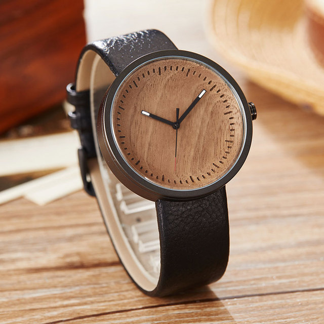 Wood Watch Ladies Simple Design Small Bracelet Natural Wooden Wrist Watch Women Genuine Leather Unisex Quartz Minimalist Watch
