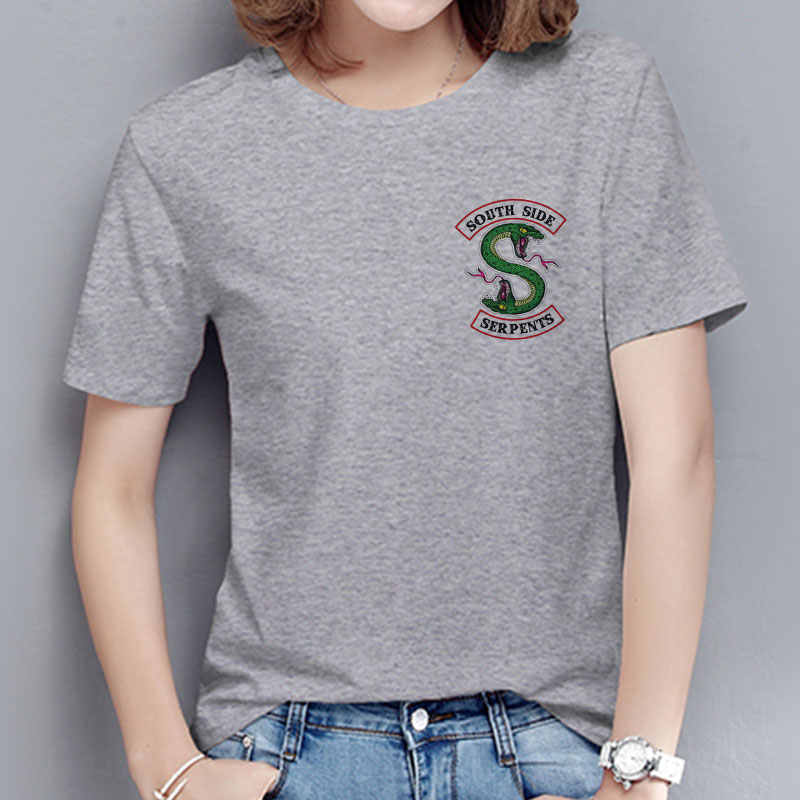 2019 Women Streetwear Riverdale Southside Aesthetic Clothes Ulzzang Harajuku Plus Size Gray Women T-shirt Short Sleeve