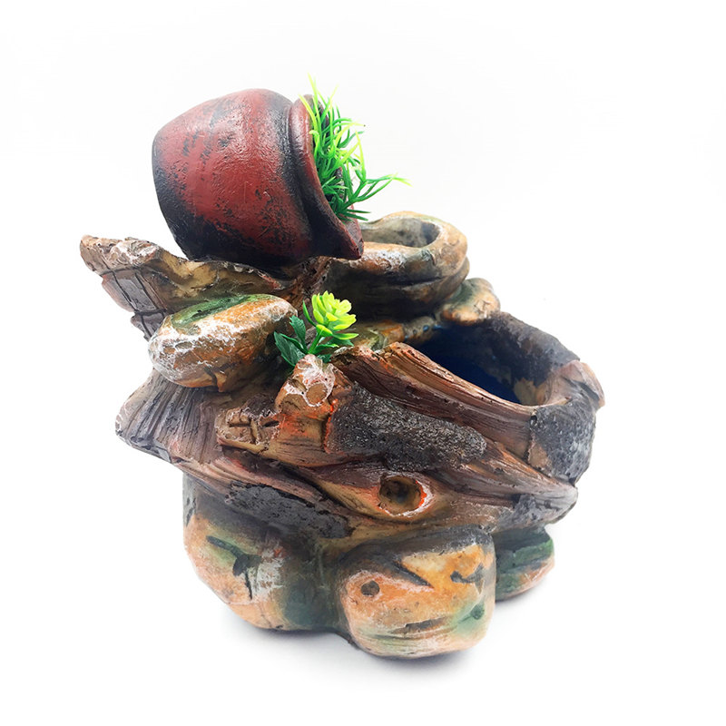 DIY Plants Micro Landscape Indoor Potted Succulents Home Furnishing Rockery Resin Water Fountain Fengshui Office Decoration-in Figurines & Miniatures from Home & Garden    3