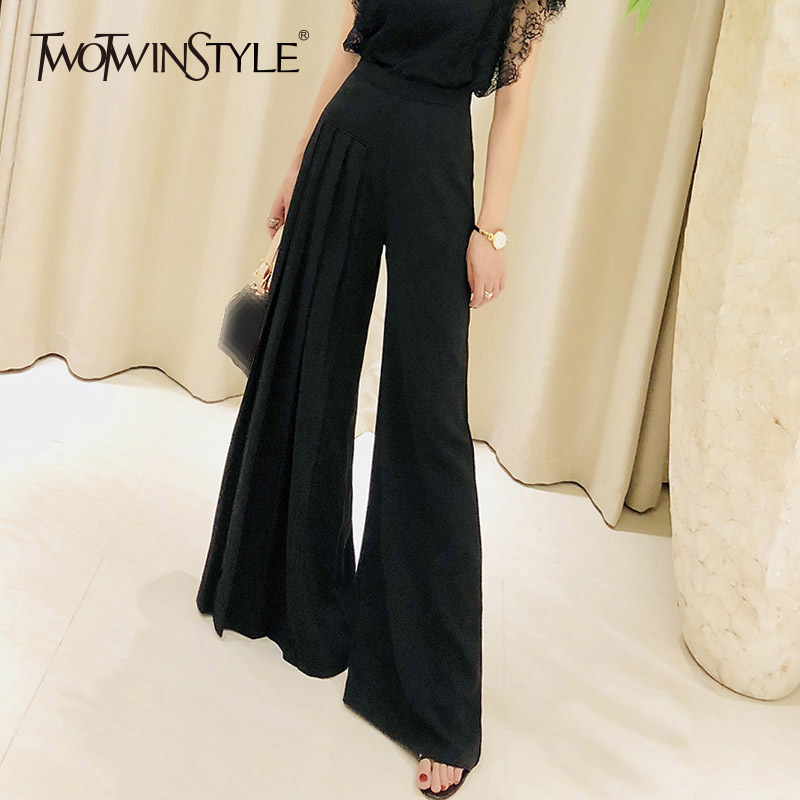 TWOTWINSTYLE Maxi Wide Leg Pants Female Ruched High Waist Summer Black Large Size Trousers 2018 Fashion Women New Clothing