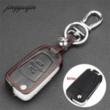 jingyuqin Leather Cover For Vauxhall Opel Astra Vectra Zafira 2 Button Flip Remote Key Fob Case Car styling