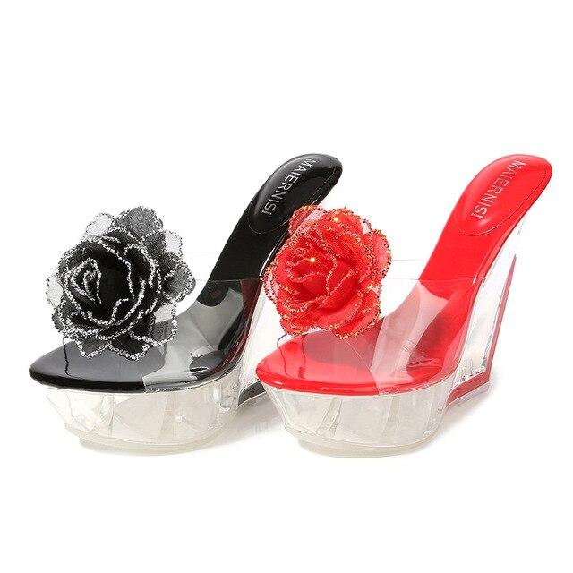 Bombas De Plataformas Zapatos Rojo BodaTacón Pvc Odinokov Mulas Fiesta Toe Sexy Cuñas Peep Mujer Alto cu1lF5KJT3