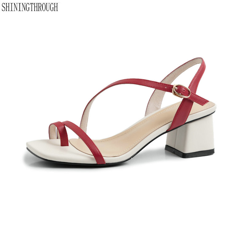 100 cow leather 5cm high Heels Sandals woman shoes Summer style red black white casual Shoes
