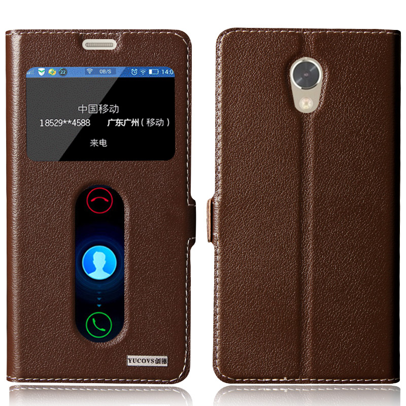 Genuine Natural Leather View Window Case Cover For Lenovo Vibe P2 C72 Case Magnetic Flip Phone Cover+ Free Gifts
