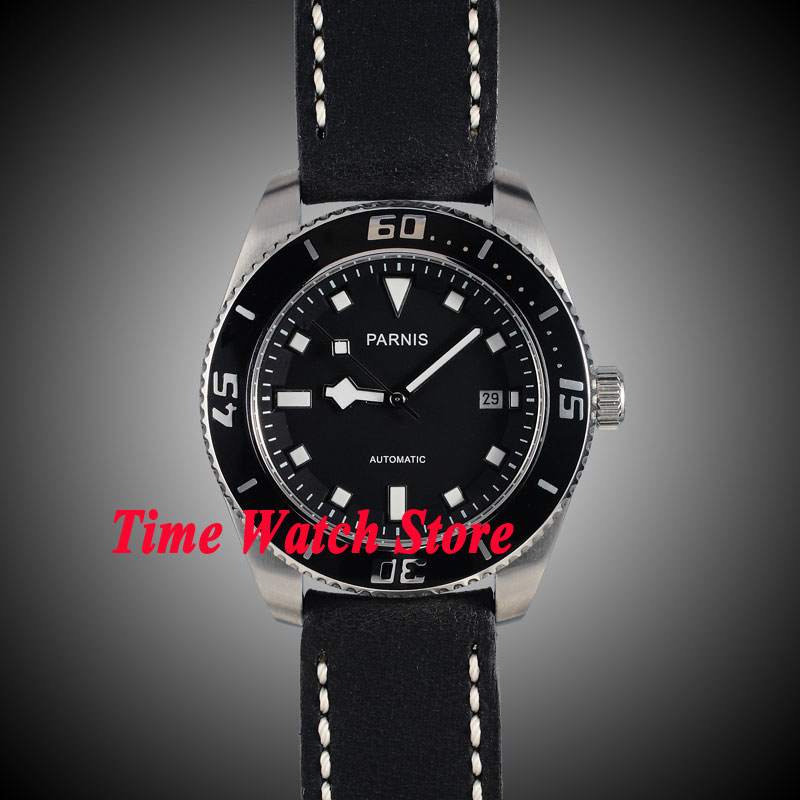 Parnis 43mm black dial luminous white marks ceramic bezel sapphire glass 10ATM MIYOTA 821A Automatic mens watch 148 43mm debert balck ceramic dial bezel sapphire miyota 821a automatic mens watch