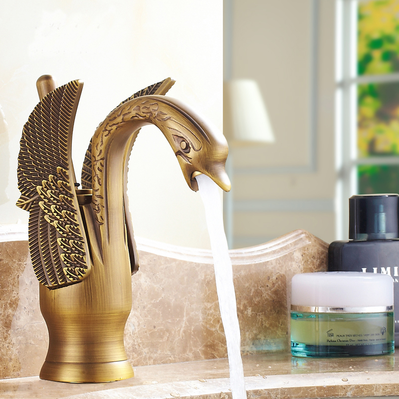 Swan shape bathroom sink basin faucet hot and cold, Copper basin faucet mixer water tap vintage, Antique brass basin faucets hdm bathroom accessories basin faucets antique brass sink faucet basin mixer hot and cold water tap bathroom hotel fixture